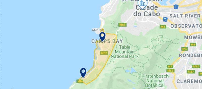 Mapa Camps Bay na Cidade do Cabo