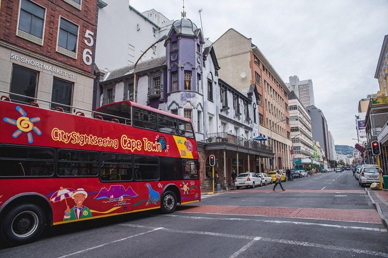 Ônibus turístico na Cidade do Cabo África do Sul