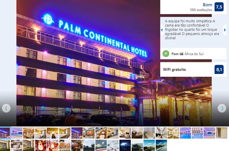 Fachada do Palm Continental Hotel em Joanesburgo