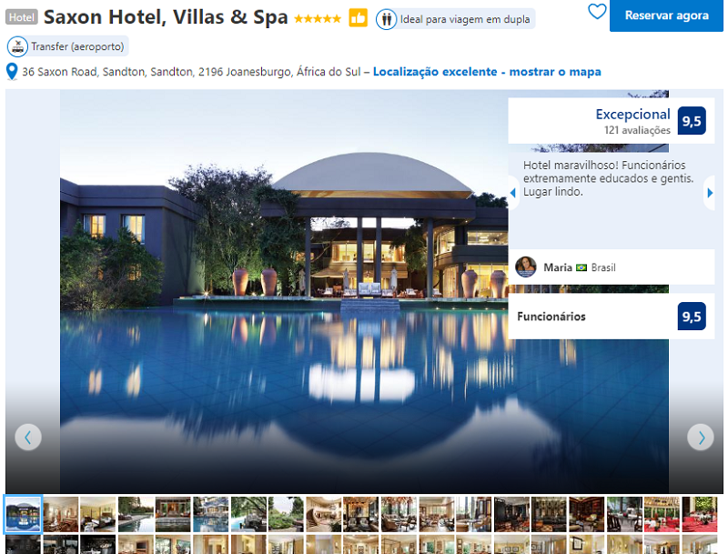 Fachada do Saxon Hotel, Villas & Spa em Joanesburgo
