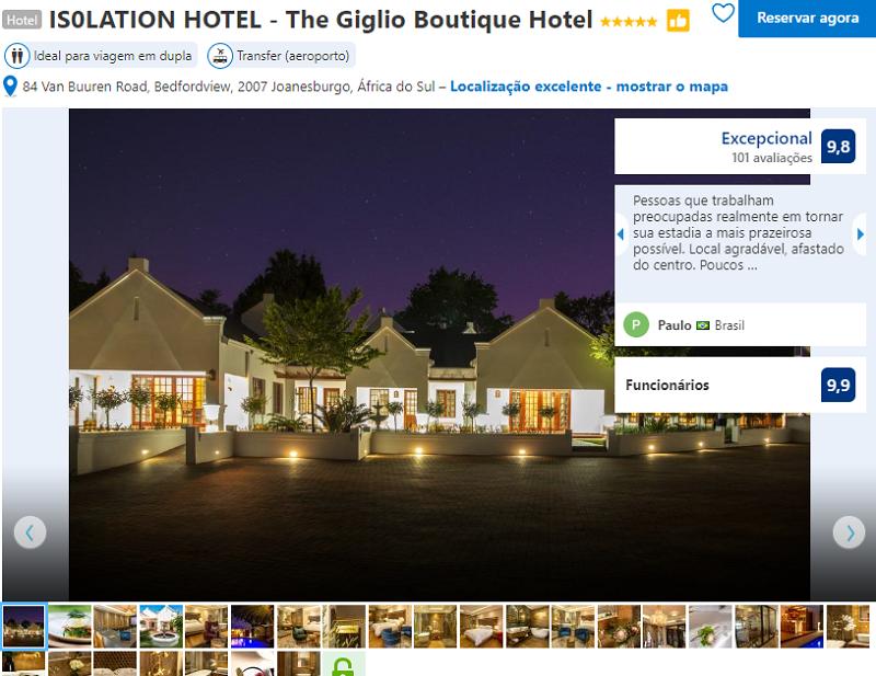 Fachada do The Giglio Boutique Hotel em Joanesburgo
