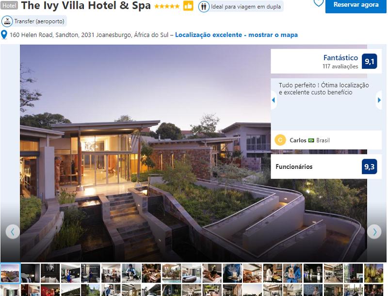 Fachada do The Ivy Villa Hotel & Spa em Joanesburgo