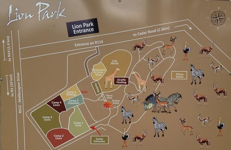Mapa do Lion Park em Joanesburgo